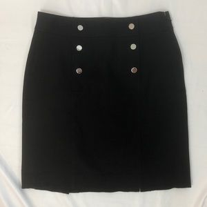 Banana Republic Black Denim Skirt w button detail